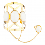 Gold Tone White Stone Caged cut out Geo Ring Handcuff Bracelet