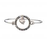 Silver LOVER FOREVER AND ALWAYS Heart Bracelet