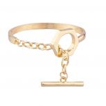 Rocker Gold tone Toggle Clasp Bracelet