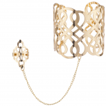 Gold Tone Filigree Pattern Cutout Ring Hand Chain Cuff Bracelet