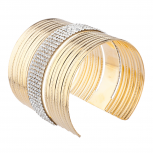 Gold Tone Faux Sticker Stone Textured Open Ended Cuff Bracelet