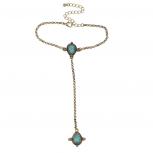 Boho Burnish Gold Turquoise Stone Hand Jewelry