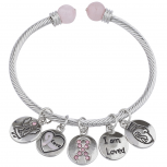 Silver Tone I Am Loved Breast Cancer Awareness Charm Bracelet