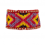 Red Large Tribal Patterned Seed Bead Stretch Bracelet
