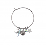 Hematite Sun Moon Stars Sliding Charm Bangle Bracelet