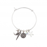 Rhodium Sun Moon Stars Sliding Charm Bangle Bracelet