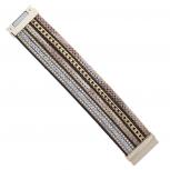 GoldTone Beige snakeskin Curb Chain Stud Magnetic Wrap Bracelet