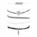 Black White Burnish Silver Boho Live Your Dream Arm Candy Set 5
