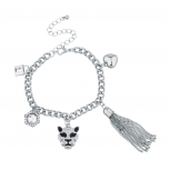 Silvertone Bling Lion Animal Charm Bracelet