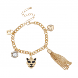 Goldtone Bling Lion Animal Charm Bracelet