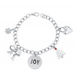 Silver Tone Christmas X-Mas Joy Inspirational Charm Bracelet