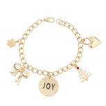 Gold Tone Christmas X-Mas Joy Inspirational Charm Bracelet