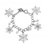 Silvertone Holiday Winter Wonderland Snowflake Charm Bracelet