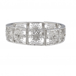 Silvertone Holiday Snowflake Casted Filigree Stretch Bracelet