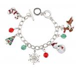 Christmas Snowflake Snowman Reindeer Beaded Charm Bracelet