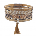 Tan Champagne Stone Snake Skin Fabric Tassel Magnetic Bracelet