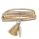 Boho Tan Beaded Stone Tassel Feather Magnetic Wrap Bracelet