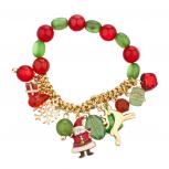 Gold Tone Christmas X-Mas Holiday Festive Beaded Charm Bracelet