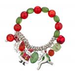 SilverTone Christmas X-Mas Holiday Festive Beaded Charm Bracelet