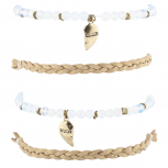Tan White Opal Moon Child Celestial Arm Candy Bracelet Set 4PC