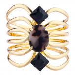 Gold Tone Black Tortoise Stone cut out Hinged Cuff Bracelet