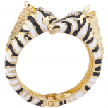 Gold Tone Black White Zebra Double Head Hinged Cuff Bracelet