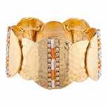 GoldTone Orange Beaded Hammered Circle Statement Bracelet