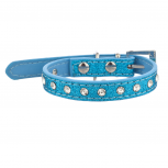 Tag Pet Collar for Small Leash Dogs and Cats Blue Sparkle