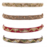 Multicolor Boho Seed Bead Pattern Corded Beaded Bracelet Set 4PC