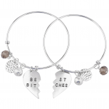 Silver Tone Best Bitches BFF Besties Charm Bangle Bracelet Set