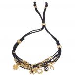 Black GoldTone Boho Elephant Evil Eye Charm Pull Strand Bracelet