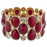 Gold Tone Red Burgundy Crystal Teardrop Shimmer Stretch Bracelet
