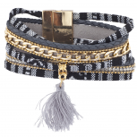 Gold Tone Black Grey Mexican Blanket Fabric Wrap Bracelet