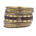 Gold Tone Wood Burnished Aztec Multi Bangle Bracelet Set
