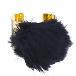 Gold Tone Black Faux Fur Ball Pom Pom Cuff Bracelet