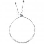 SilverTone Baguette Rhinestone Tennis Bracelet Slider Bracelet