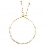 Gold Tone Baguette Rhinestone Tennis Bracelet Slider Bracelet