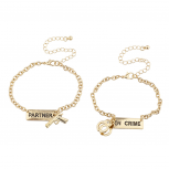 Gold Tone Partners in Crime Gun Handcuffs Bracelet Set 2PC