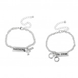Silver Tone Partners in Crime Gun Handcuffs Bracelet Set 2PC