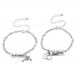 Silvertone Partners in Crime Gun Handcuffs Bracelet Set 2PC