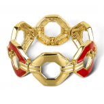 Goldtone and Red Enamel Chain Pattern Cutout Stretch Bracelet