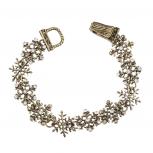 Burnished Gold Tone Crystal Rhinestone Snowflake Clasp Bracelet