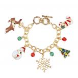 Gold Tone Christmas Xmas Tree Snowflake Snowman Charm Bracelet
