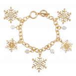 Gold Tone Faux Pearl Crystal Ab Bead Snowflake Charm Bracelet