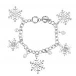 Silver Tone Faux Pearl Crystal Bead Snowflake Charm Bracelet