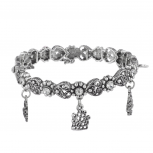 Burnish Silver Tone Christmas Holiday Filigree Charm Bracelet