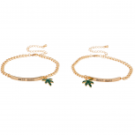 GoldTone Best Buds BFF Friends Marijuana Leaf Bracelet Set 2PC