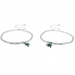 SilverTone Best Buds BFF Friends Marijuana Leaf Bracelet Set 2PC