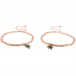 Rose Gold Tone Best Buds BFF Marijuana Leaf ID Bracelet Set 2PC