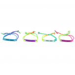 Rainbow Corded Girl Gang Best Friend Forever ID Bracelet Set 4PC